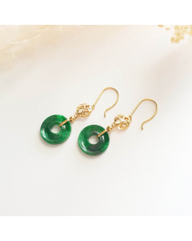"Translucent Brilliant Flower Green Jadeite ""Lucky Clover"" Earrings (JAA000637)"