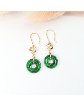 "Translucent Brilliant Flower Green Jadeite ""Lucky Clover"" Earrings (JAA000638)"