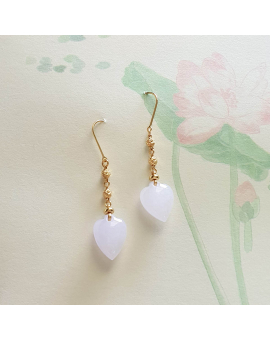 "Translucent Lavender Jadeite ""My Love"" Dangling Earrings (JAA000696)"