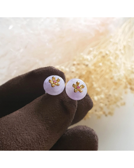 "Translucent Pinkish Lavender Jadeite ""Cherry Blossom"" Pierced Earrings (JAA000711)"