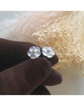 "Highly Translucent Icy Jadeite ""Cherry Blossom"" Earrings (JAA000722)"