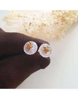 "Highly Translucent Icy Pinkish Lavender Jadeite ""Cherry Blossom"" Pierced Earrings (JAA000830)"