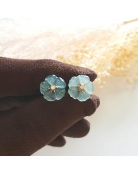 "Highly Translucent Icy Bluish Green Jadeite ""Blue Petunia"" Earrings (JAA000878)"