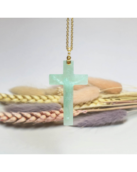 "Translucent Apple Green Jadeite ""Crucifix"" Pendant (JAB000733)"