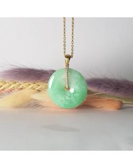 """Translucent Green Jadeite """"Auspicious Coin"""" Pendant (JAB002521)"""