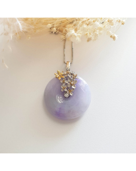 "Translucent Brilliant Lavender Jadeite ""Enchanted Bee and Baby's Breath"" Pendant (JAB003466)"