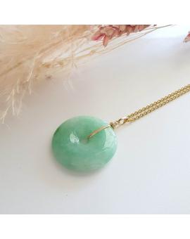 """Translucent Green Jadeite """"Auspicious Coin"""" Pendant (JAB003644)"""