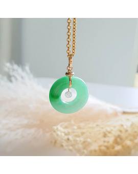 """Translucent Brilliant Green Jadeite """"Twinkle Diamond"""" Donut Pendant (JAB003764)"""