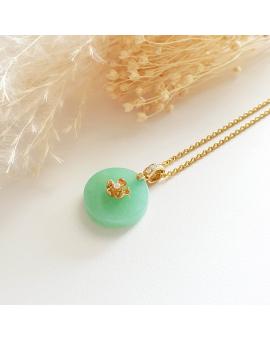 "A Good Translucency Bright Apple Green Jadeite ""Cherry Blossom"" Pendant with Diamonds (JAB003788)"