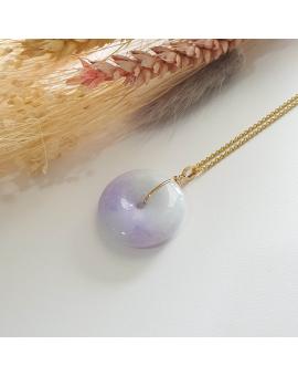 "Translucent Sweet Lilac with Brilliant Lavender Jadeite ""Donut"" Pendant (JAB003937)"