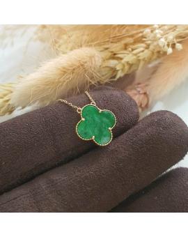 "Translucent Brilliant Green Jadeite ""Clover's Love"" Pendant Necklace (JAB003999)"