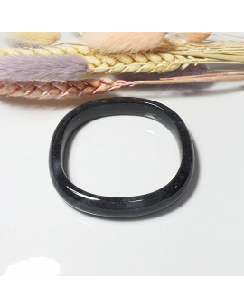 "Black Jadeite ""Art-De-Squarera"" Bangle (JAC001421)"