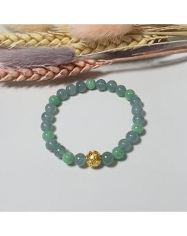 Translucent Icy Bluish Green and Apple Green Jadeite Beads Bracelet (JAC001451)