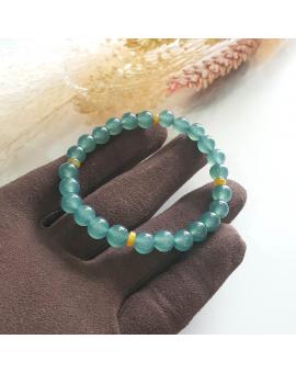 Highly Translucent Bluish Green with Yellow Jadeite Beads Bracelet (JAC001830)